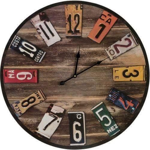 wood clock with license plate numbvers