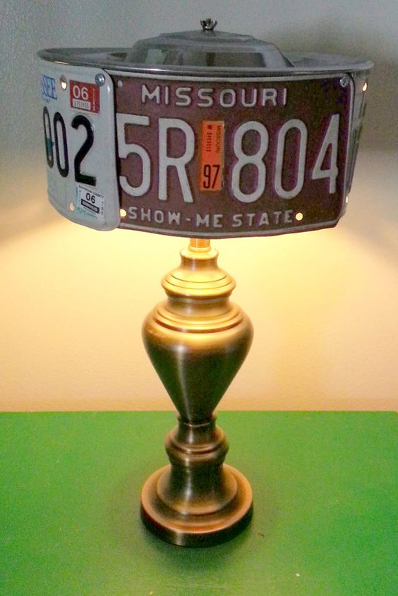 license plates as a lampshade on brass lamp