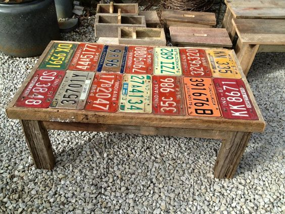 license plates as table top on a small wooden table