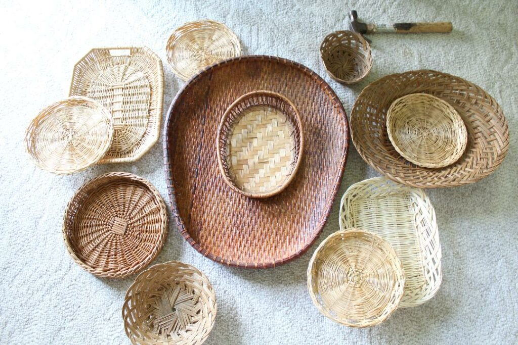 Baskets of different shapes andnsozes laying out on the carpet