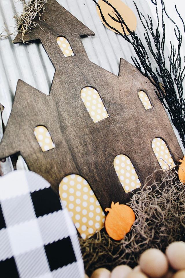 dollar tree haunted house with orange polka dot windows