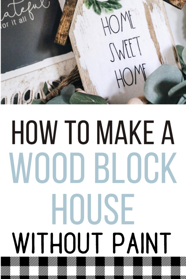 diy wood block house made with printable