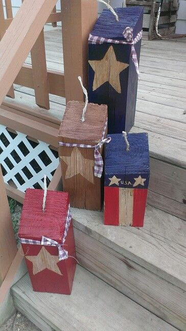 4x4 wood block firecrackers with dark stain and primitive american colors
