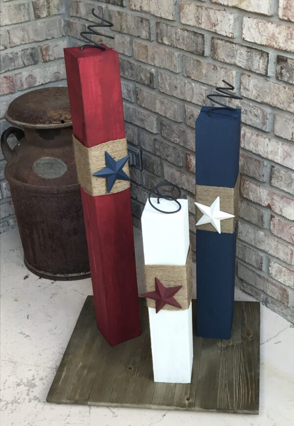 tall 4x4 firecracker red white and blue with stars and burlap fabric
