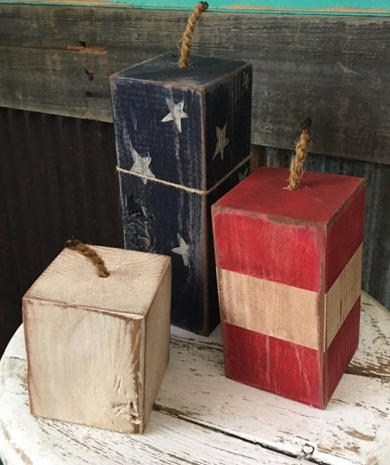 primitive red white and blue firecrackerswith rop on top