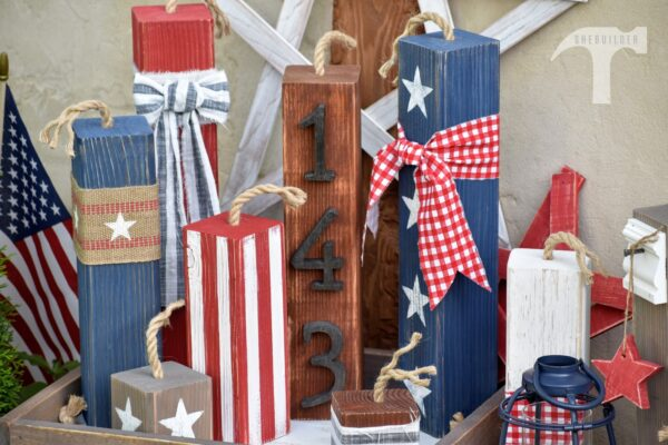 primitive wood block firecrackers painted with stars stripes and wood stain