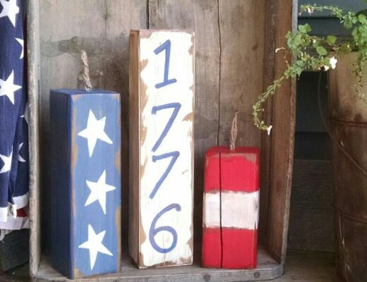 wood block firecracks with stars and stripes