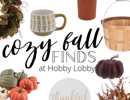 collage of fall decor from hobby lobby