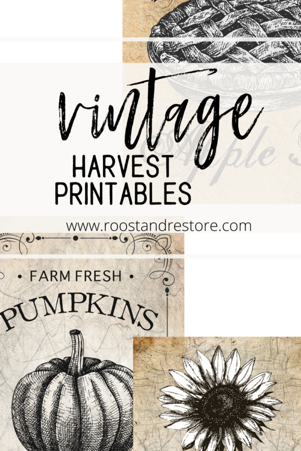 vintage farmhouse printable collage with text overlap for pinterest