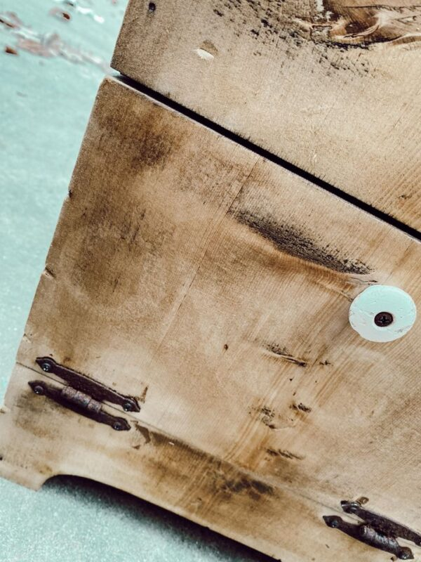 wood bleached box with rusted hardware