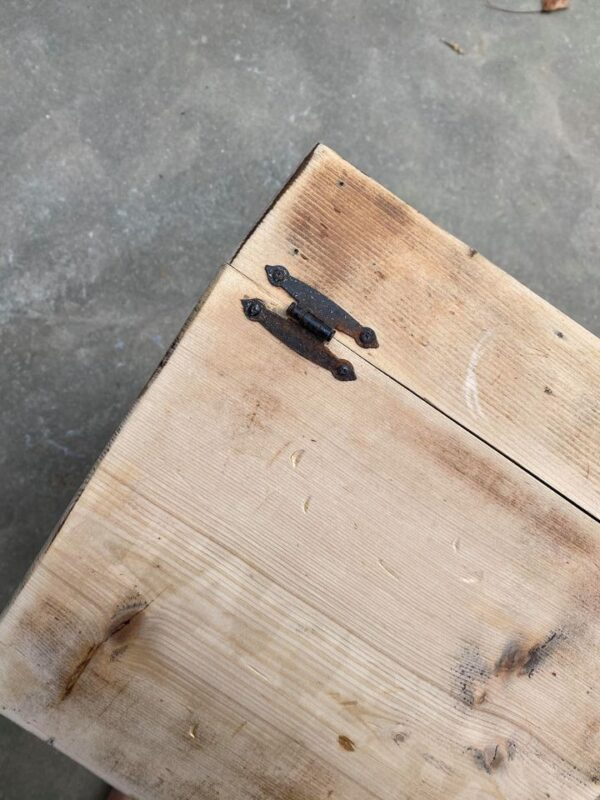 RUSTED HARDWARE ON POTATO BOX