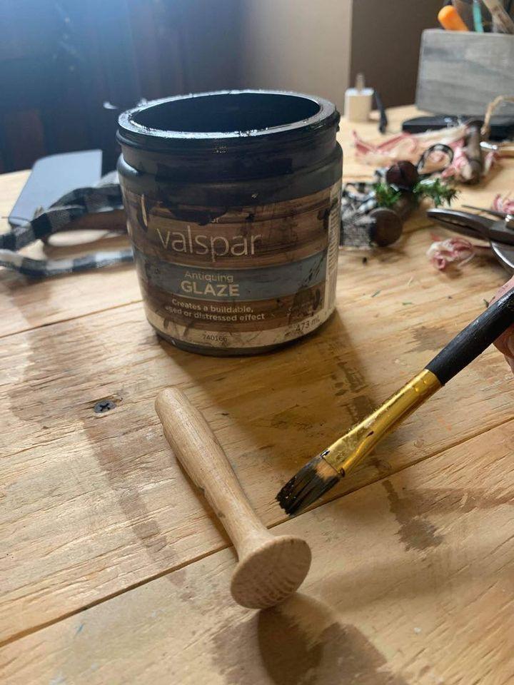 antiquing a wood peg with glaze