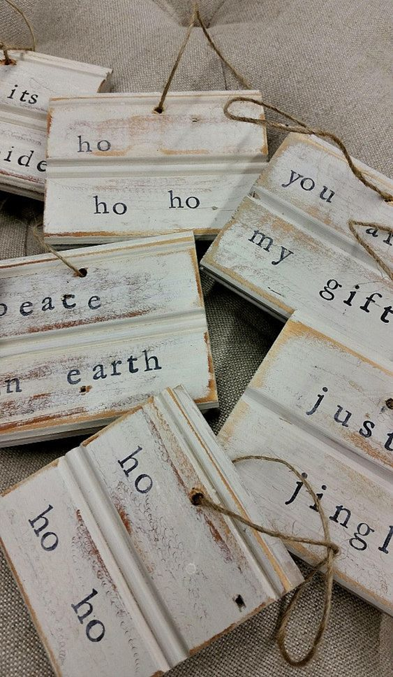 Reclaimed white scrap wood ornaments with stamping