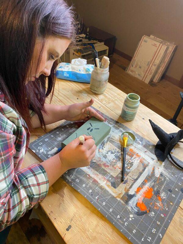 painting on wood block