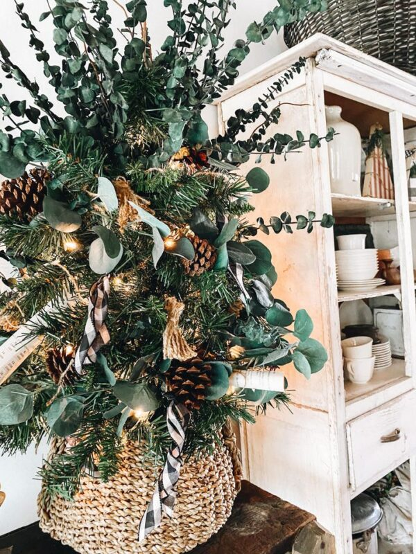 vintage shelf styled with christmas tree