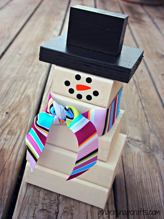 easy wood block snowman project