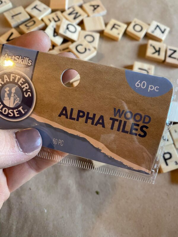 Dollar store wood alpha tiles