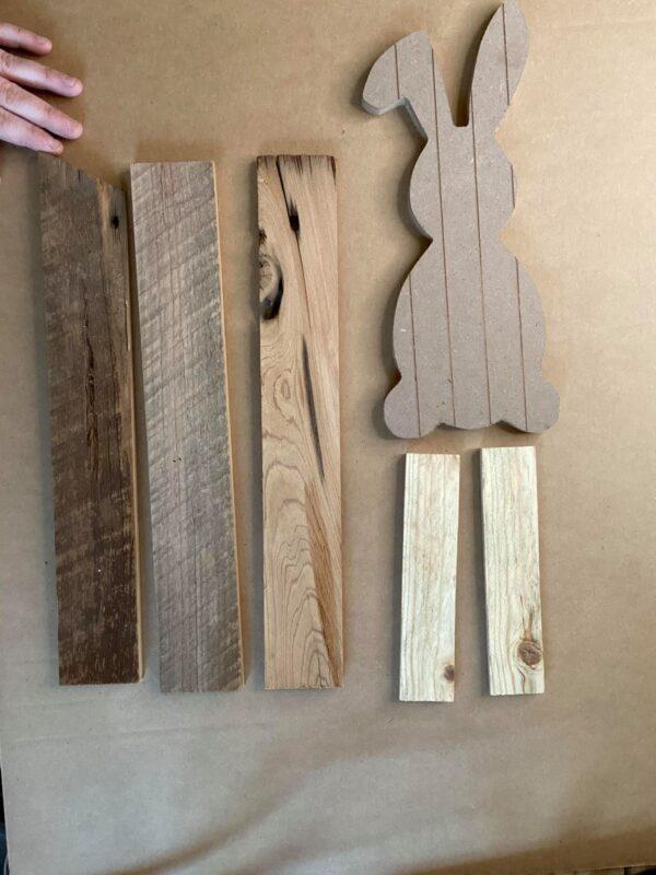 wood pieces for bunny DIY