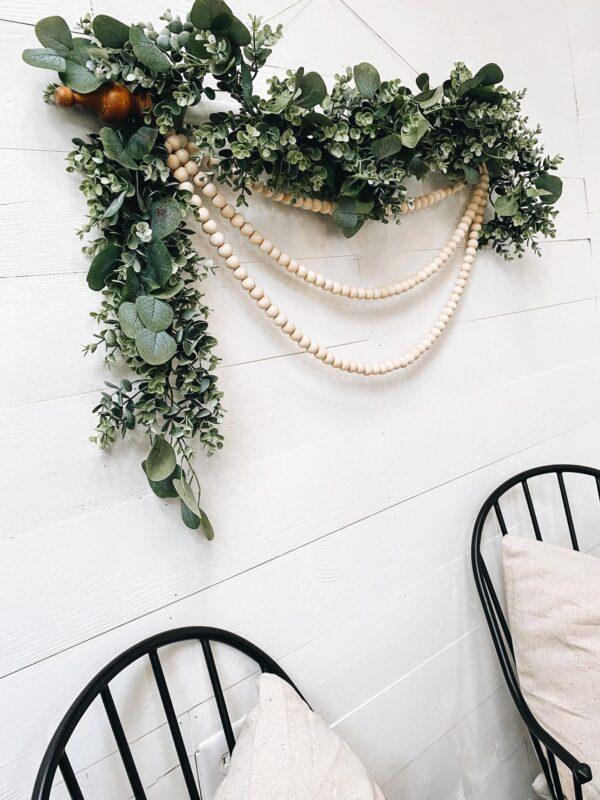 diy wall hanging with eucalyptus garland