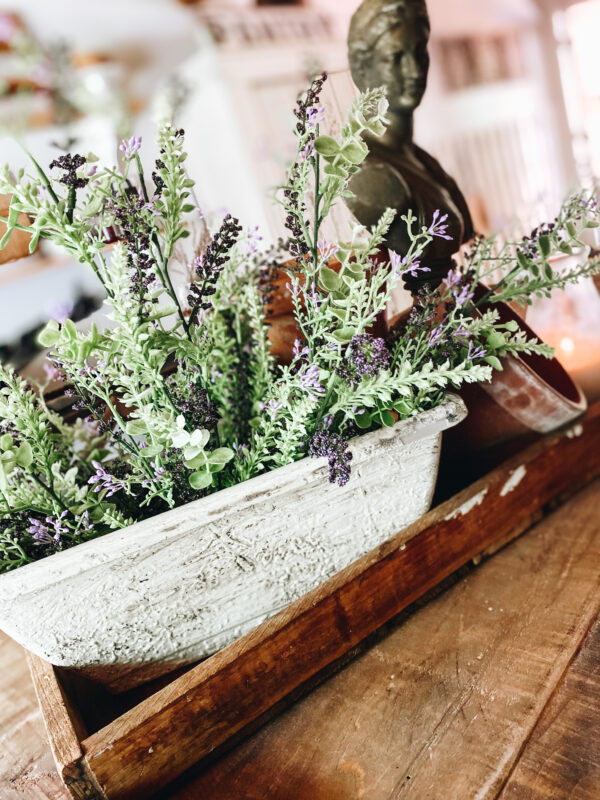faux french pottery with lavender