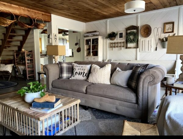 tufted farmhouse couch in living room