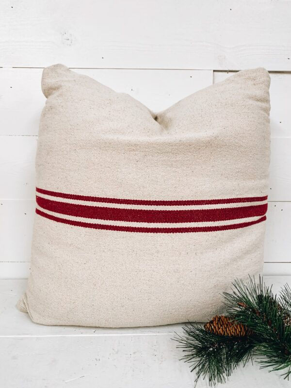 The Homegoods Market - Christmas in July Red Stripe Pillow