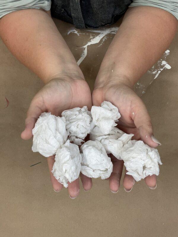 tissue paper textured pot