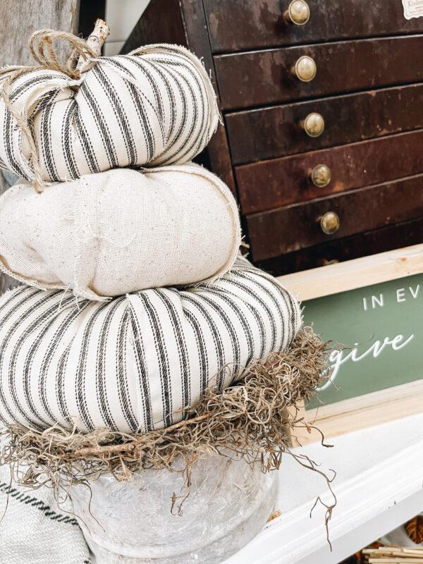 neutral farmhouse pumpkins in cement planter