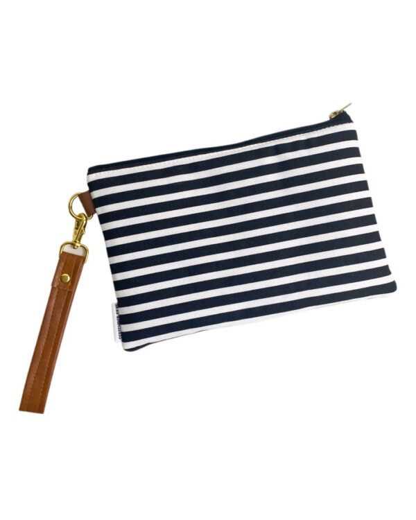 Black and White Stripe Wristlet - Roost and Restore Home