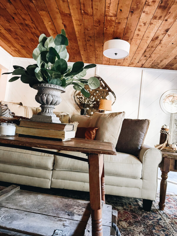 rustci farmhouse living room with thrift store decor finds