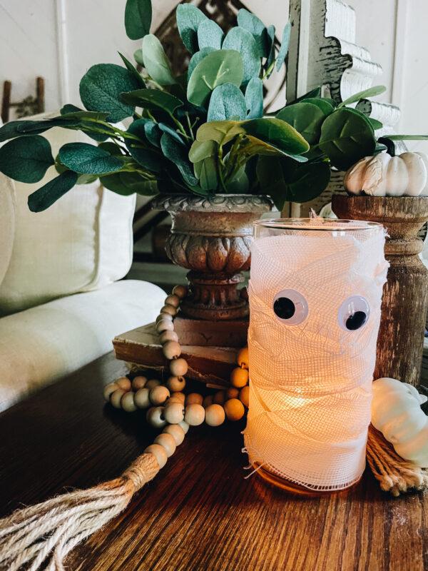 diy mummy using dollar tree vase