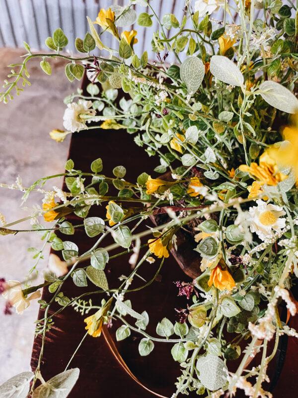 dough bowl flower arrangement diy